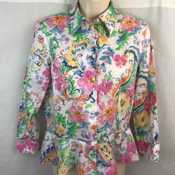 be0fc4d5beac4 Lauren Ralph Lauren Tops - Lauren Ralph Lauren Floral Blouse Womens 4